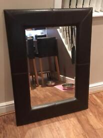 Brown Leather Look Mirror