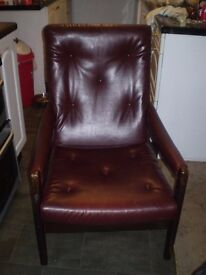 Danish style leather armchair