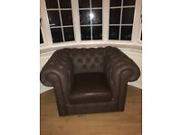 3 seater brown chesterfield sofa and chair