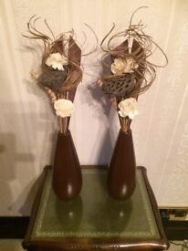 Matching Pair of Brown Vases with flower arrangements
