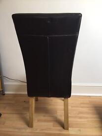 Brown leather dining room chairs (4)