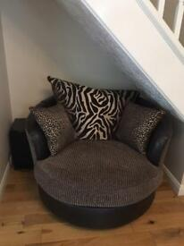 DFS swivel chair / sofa - animal print / brown leather