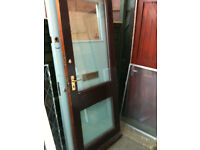 Exterior hardwood door with 2 double glazed clear glass panels