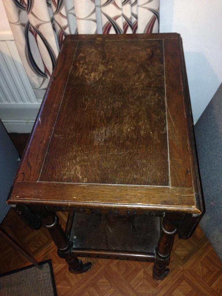 Solid mahogany drop leaf table