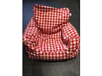 Red and white gingham toddler beanbag armchair Jojomaman