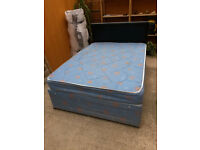Double Divan Bed with Drawers and Mattress and black Faux Leater Headboard