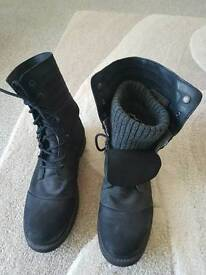 Mens Superdry Black Boots Size 10 UK