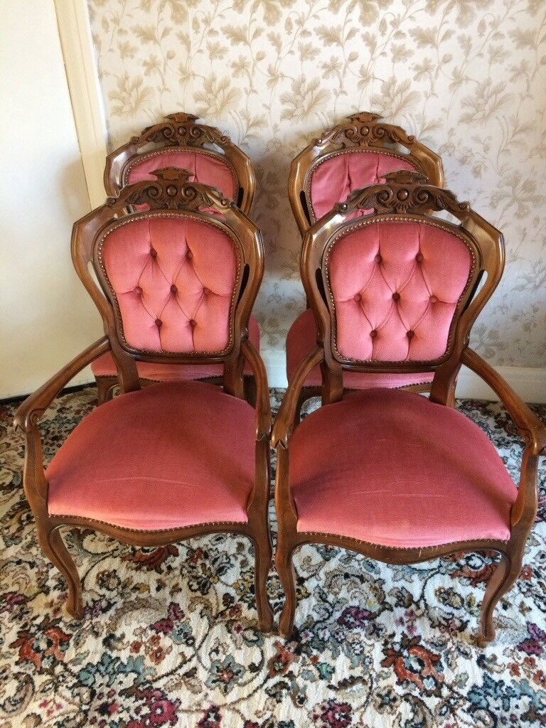 Dinning chairs, 4 regency style mahogany chairs and matching coffee table