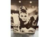 Audrey Hepburn Breakfast at Tiffany's Art Canvas Movie Poster Print Iconic Star.