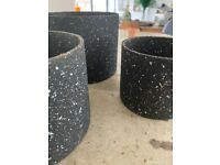 Trio of black speckled plant pots