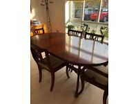 Antique dining room table and 6 chairs