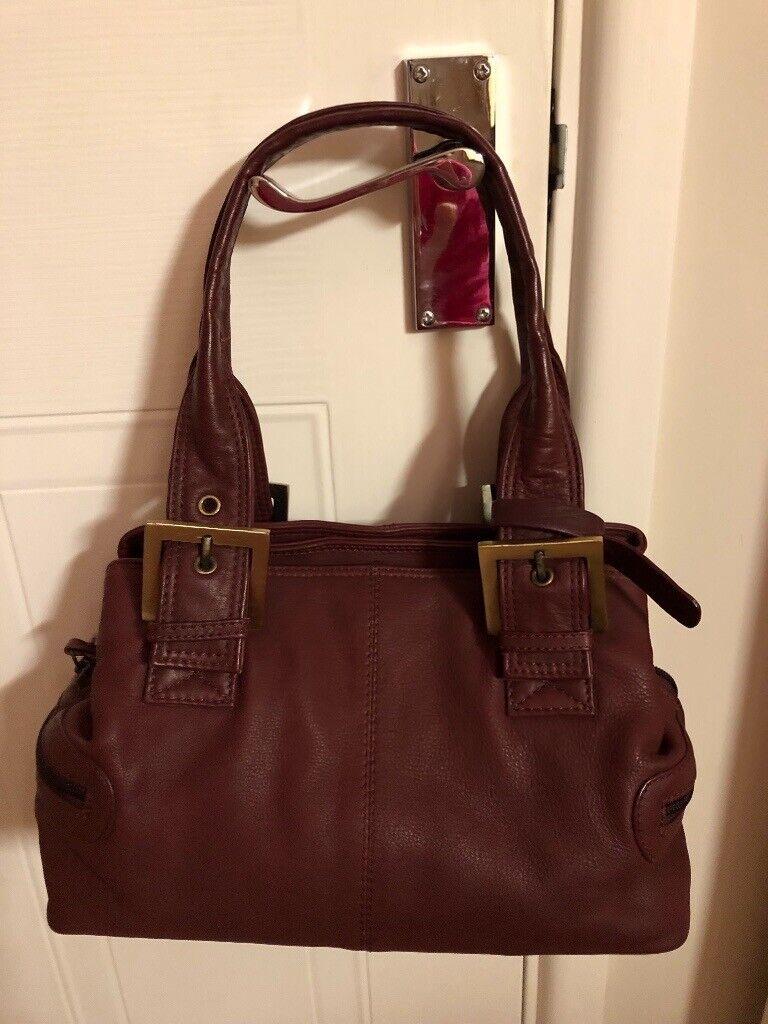 9a7f7ac038 Clarks burgundy real leather handbag | in Plymouth, Devon | Gumtree