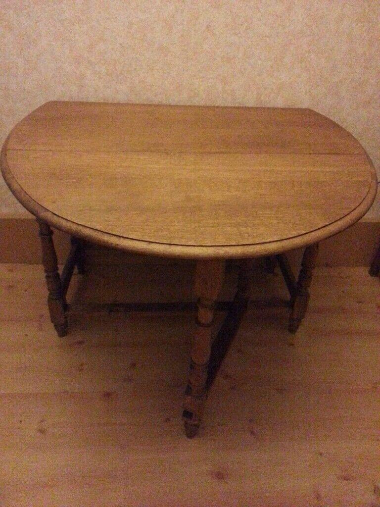 Vintage Antique Oak Waxed Gate Leg Drop Leaf Dining Table