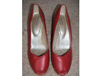 Ladies Red peep toe shoe, wedge heel, Pavers, Size 6