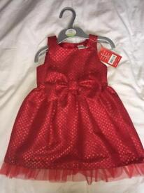 Baby's red bow dress