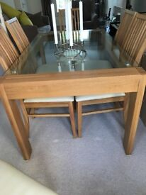 Oak & Glass Top Table & 6 x High Backed Chairs + Small Oak Side board 900mm x 500mm