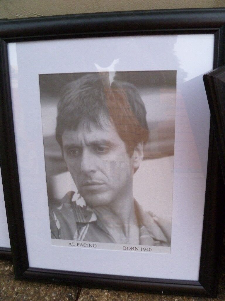 pictures and wooden frames £3 for all. Pics inc al pacino, audrey ...