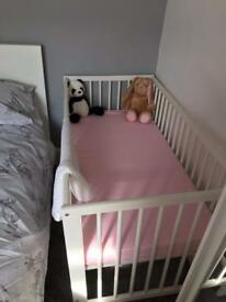 White cot and mattress - barely used