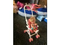 Fisher price toy baby and pram