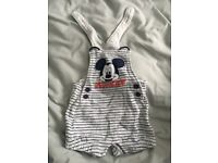 Mickey Mouse boys dungarees 0-3 months