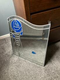 Rennie Macintosh Style Stained Glass Mirror Blue