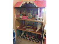 Girls dolls house with accessories