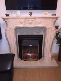 MARBLE FIRE PLACE WITH BASE & HEARTH