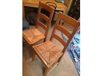 2 Rustic Distressed Dining Chairs
