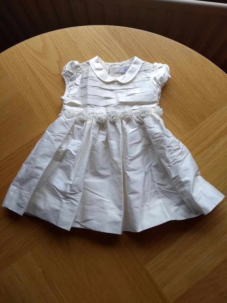 BNWOT Designer Kidiwi Ivory/Cream Raw Silk Age 6-9 months Bridesmaid/ Christening Party Dress