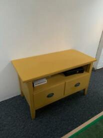 Wooden tv unit painted in yellow chalk paint