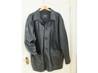 Men's black leather car coat XXL