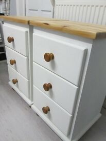 Bedside 3-drawer chests x 2 in solid pine