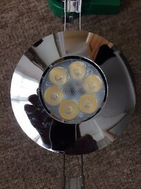 JCC 7Watt LED Chrome fire rated IP65 Down lights. Non dimmable cool white.