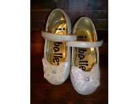 Girls Cream Sparkle Butterfly Party Shoes - size 7 (24)