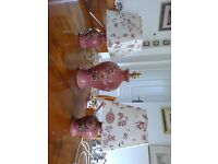 SET OF THREE MATCHING DENBY POTTERY LAMPS/TWO SHADES