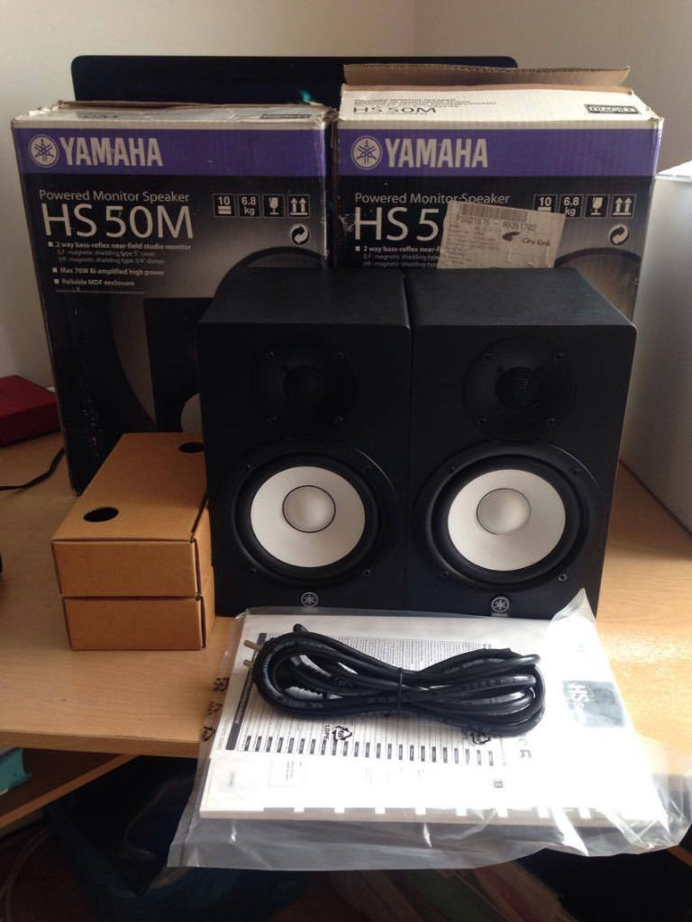 Yamaha hs5 powered studio monitor pair black boxed for Yamaha hs5 speaker stands