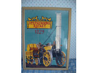"Framed Tapestry of Stephenson's ""Rocket"""