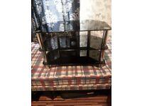 Black glass an chrome tv stand