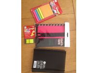 Stationery Pk - 3 note books , 3 pencil cases, 3 pks peel 'n' stick notes , 3 peel 'n' stick flags