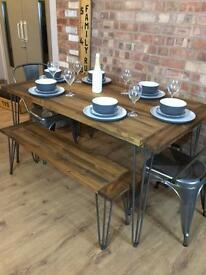 New Handmade Bespoke Rustic Industrial Table and Chairs with Benches With Hairpin Legs