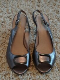 Pewter / Silver Leather Sling Back Shoes (matching bag available)