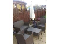 Rattan garden furniture plus Parasol Hanging Banana Umbrella