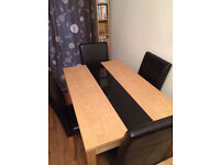 Beech Wood Dining Room Table and 4 Chairs - Collection Only
