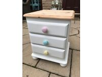 Solid pine bedside table small chest of drawers shabby chic stunning