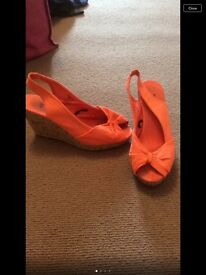 H&M coral colour wedges size 6 great for summer
