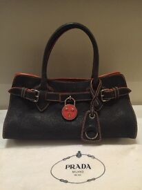 Authentic MIU MIU - Prada - Leather Hand Bag - Hermes Style