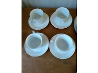 Set of 4 fine china vintage cups and saucers - white with gold rim