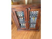 (X5 items) x2 Indian wood cabinets, nest of tables, coffee table and mirror, all good condition