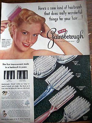 1951 Gainsborough Hair Brush 25 Strokes a Day Ad