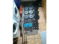 7ft & 5ft Barbell and Dumbbell Cast Iron Weights Set wit Belt & Squat Pad (bench, press, dumbbell)